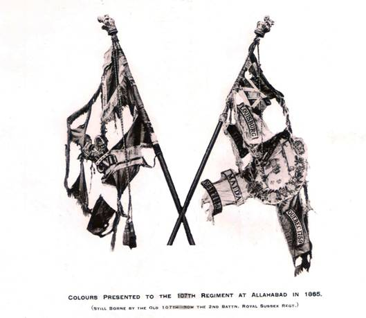 Colours presented to the 107th at Allahabad (India) in 1865